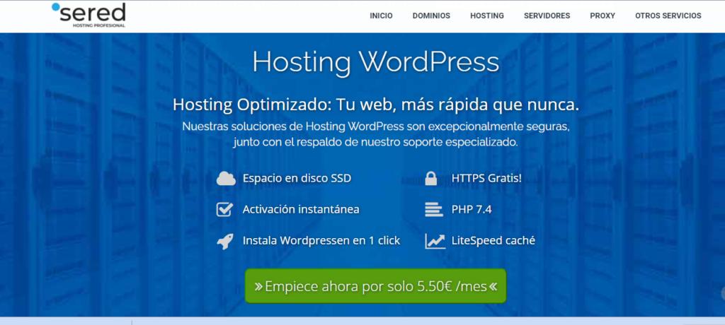 Sered ofrece servicio de hosting.