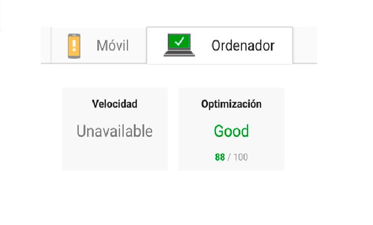 La velocidad en Google Speed es buena.