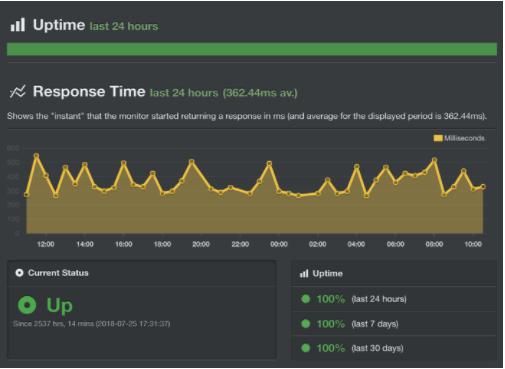 El Uptime muestra un 100% online en 30 días.