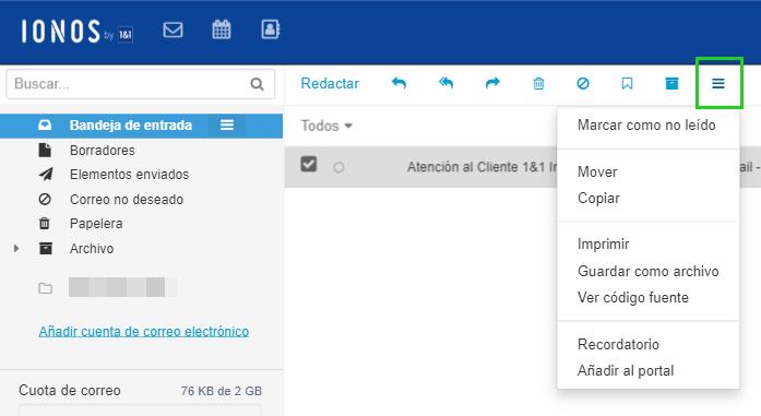 Ionos ofrece una herramienta para administrar correos electrónicos.